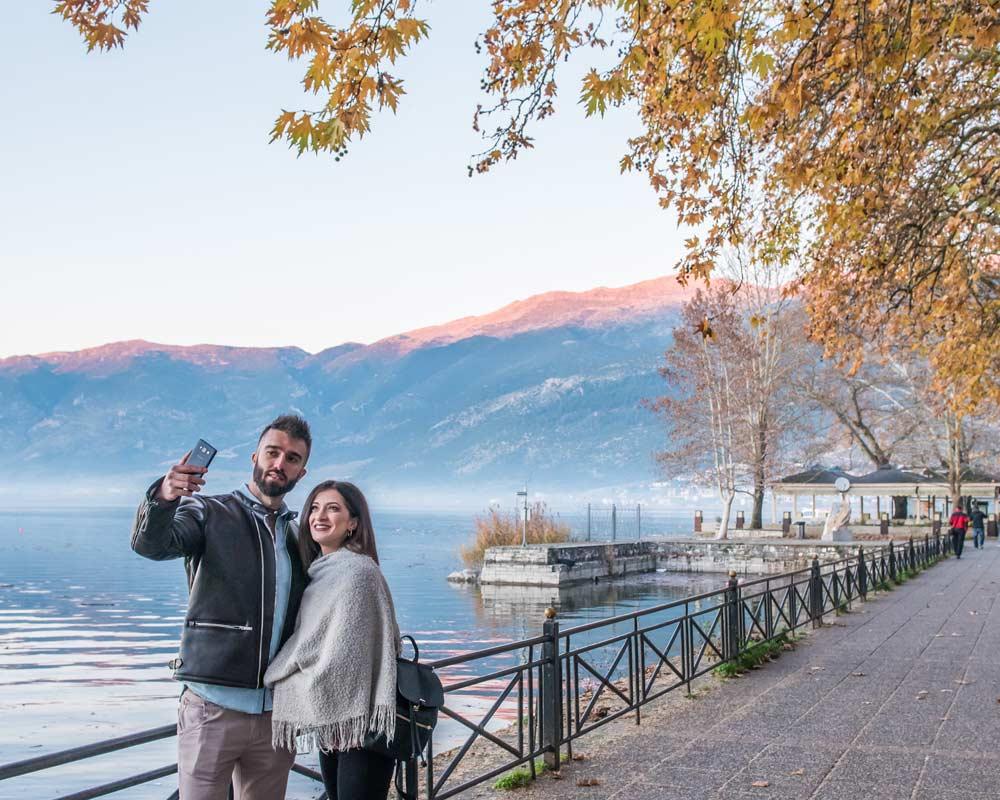 Ιωάννινα Θέα Χειμώνας Λίμνη Παμβώτιδα